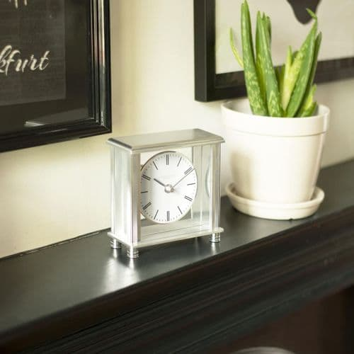 03216 London Clock Company Silver Coloured Metal And Glass Square Mantle Clock With Round Dial