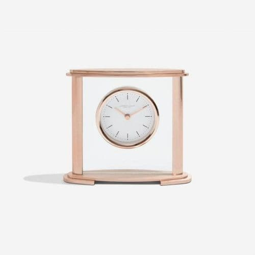 03217 London Clock Company Rose Coloured Metal And Glass Square Mantle Clock With Round Dial