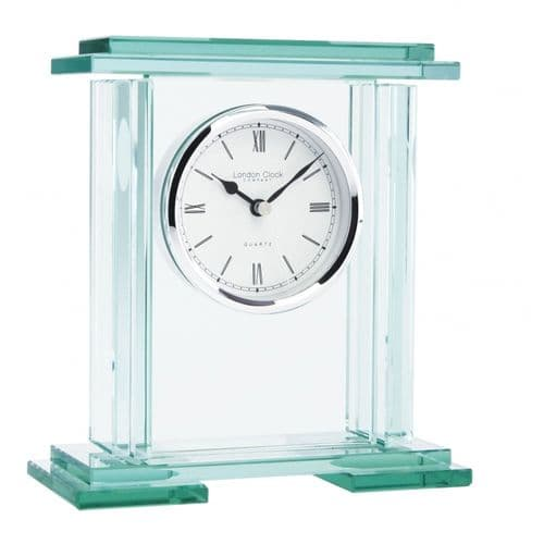 05089 Square Flat Top Glass London Clock Company Mantle Clock With Round Silver Dial