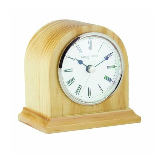 06428 Clock Small Light Wood Arch Top Mantle Clock White Dial London Clock Company