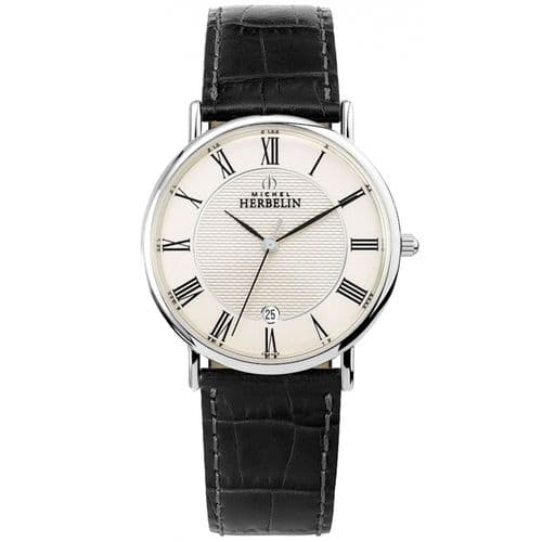 12248/08 Michel Herbelin Watch Mens Stainless Steel Round Black Strap Clear Dial Roman Numerals Date