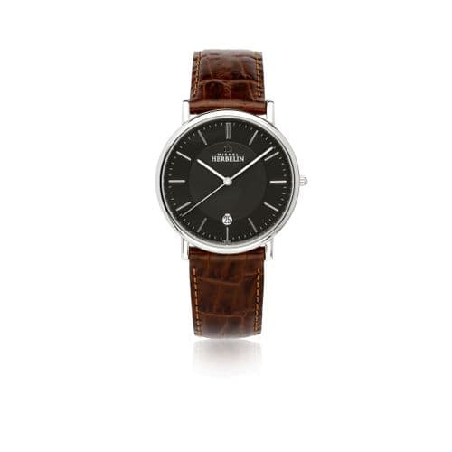 12248/14 Michel Herbelin Watch Brown Dial Mens Stainless Steel Round Brown Strap Clear Dial Date
