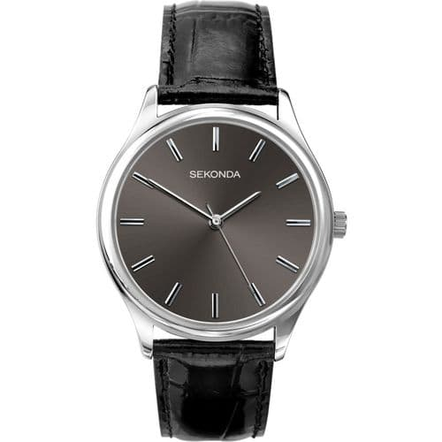 1533 Sekonda Dark Grey Strap Round Watch Men's Clear Silver Dial And Silver Coloured Battens
