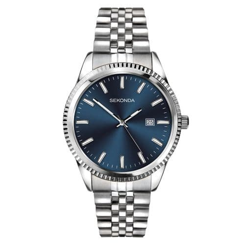 1640 Sekonda Men's Round  Blue Stainless Steel Bracelet Watch With Date Feature