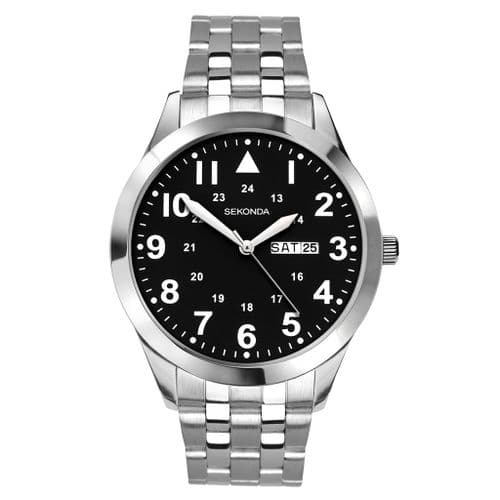 1663 Sekonda Men's Round Black Dial Stainless Steel Bracelet Watch With Day And Date Feature