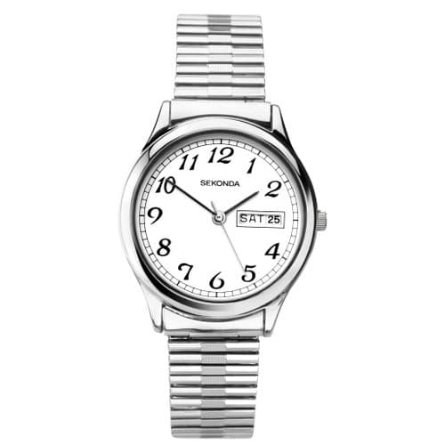 1693 Sekonda Watch Mens Silver Plated Expanding Bracelet Clear Dial Day And Date