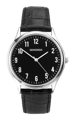 1777 Sekonda Black Round Watch Men's Black  Dial really Clear White Numbers