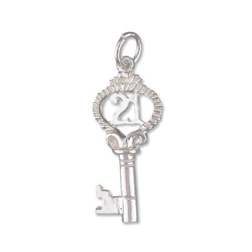 21 Key Sterling Silver Necklace Pendant Including Chain