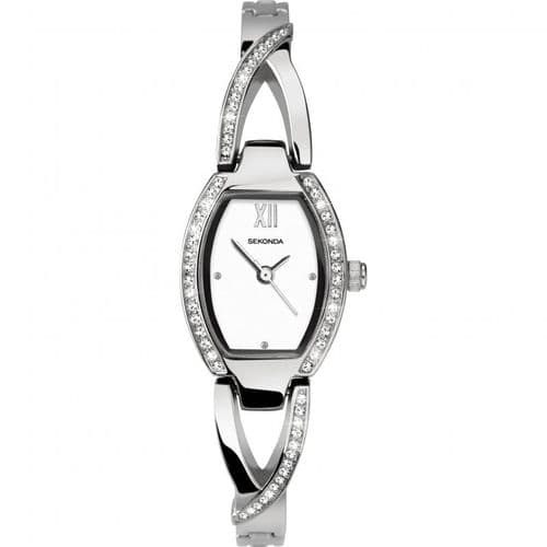2542 Sekonda Lozenge Shaped Silver Dial Crystal Set Ladies Stainless Steel Bracelet Watch