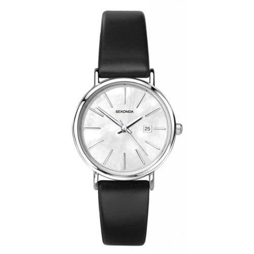 2548 Sekonda Black Strap Round Watch Men's Large Clear Mother of Pearl Dial With Date Feature