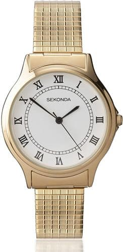3021B Sekonda Watch Mens Gold Plated Expanding Bracelet Clear Dial