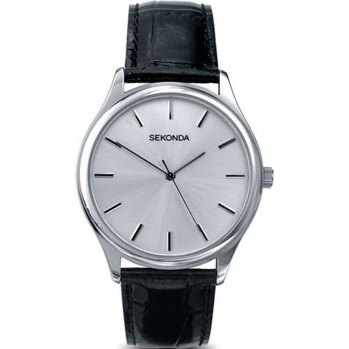 3099 Sekonda Black Strap Round Watch Men's Clear Silver Dial And Silver Coloured Battens
