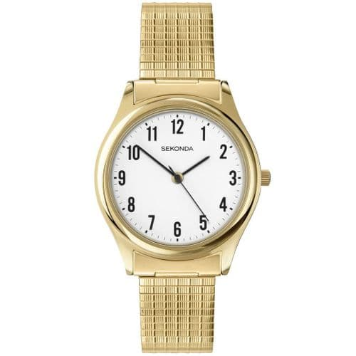 3752 Sekonda Watch Mens Gold Plated Expanding Bracelet Clear Dial