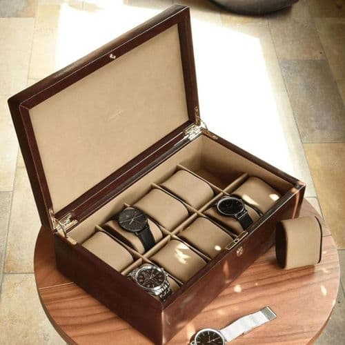 71213 Dulwich Designs Large Watch Box Holder Brown Leather For 10 Watches