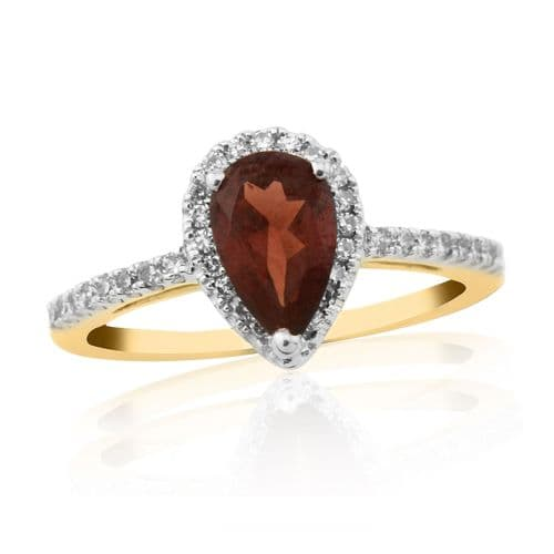 9 Carat Yellow Gold Garnet And Diamond Cluster Ring With Diamond Set Shoulders DGR1347