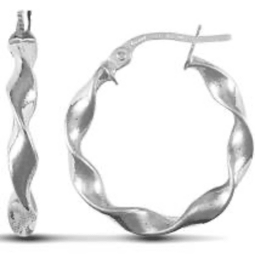9 Carat White Gold Twisted Round Hoop Earrings APNJOH