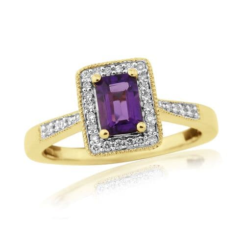 Amethyst And Diamond 9 Carat Gold Cluster Ring