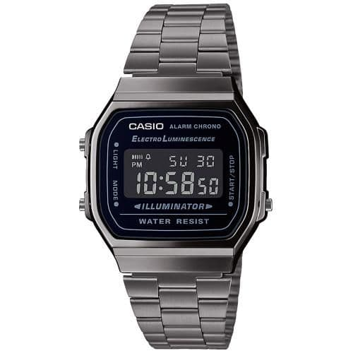 Casio Mens Size Dark Plated Bracelet Digital Watch A168WEGG-1AEF With A Black Coloured Face Dial