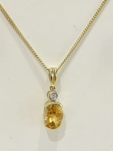 Citrine And Diamond Gold Necklace