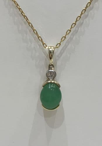 Green Jade And Diamond Yellow Gold Necklace