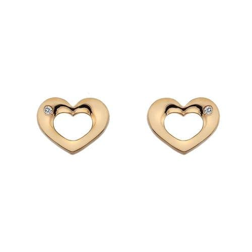Hot Diamonds Rose Gold Plated Sterling Silver Emerge Open Heart Earrings DE435