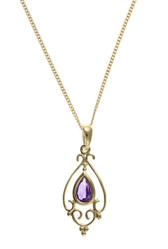 Pear Shaped Yellow Gold Amethyst Necklace