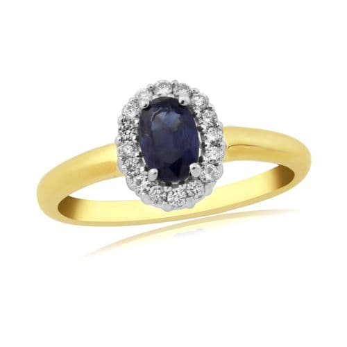 Sapphire And Diamond 9 Carat Yellow Gold Cluster Ring DSR277Y