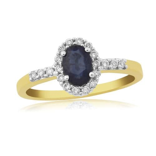 Sapphire And Diamond 9 Carat Yellow Gold Cluster Ring DSR562Y
