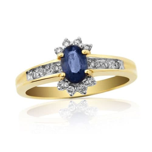 Sapphire And Diamond 9 Carat Yellow Gold Cluster Ring DSR576Y
