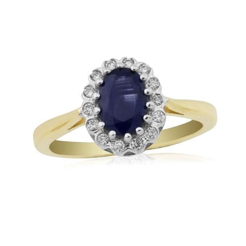 Sapphire And Diamond 9 Carat Yellow Gold Cluster Ring DSR735Y