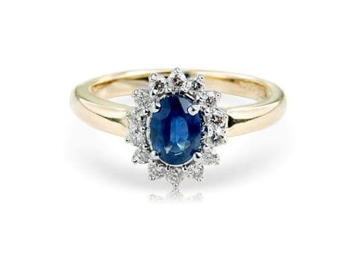 Sapphire And Diamond 9 Carat Yellow Gold Cluster Ring DSR739Y