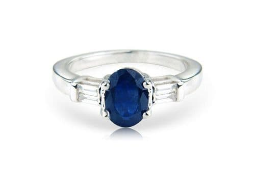 Sapphire And Diamond White Gold Fancy Ring