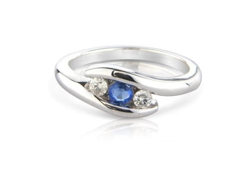 Sapphire White Gold Fancy Ring
