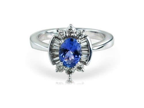 White gold fancy tanzanite and diamond cluster ring