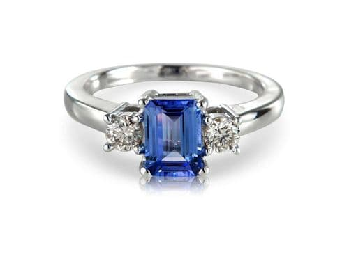 White gold tanzanite and diamond dress ring