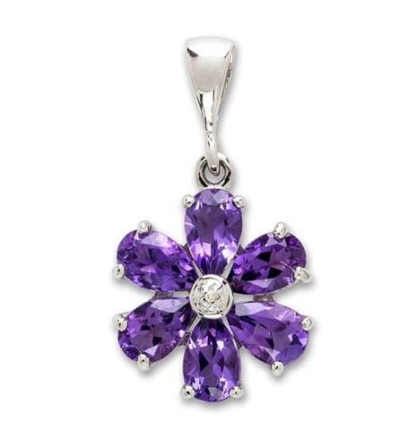 Amethyst And Diamond Round Sterling Silver Purple Daisy Petal Cluster Necklace