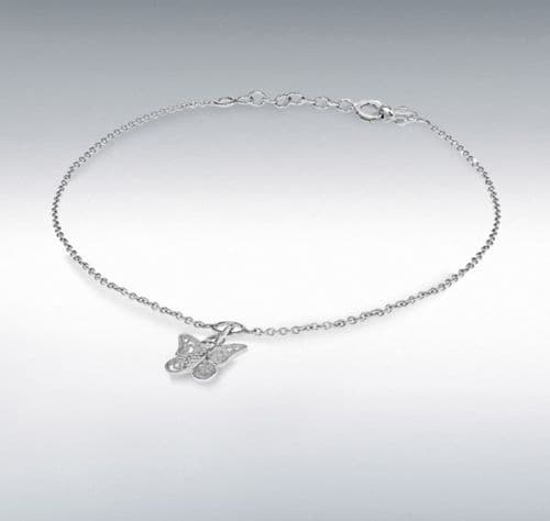 Anklet Butterfly Charm Sterling Silver Solid Ladies Ankle Chain
