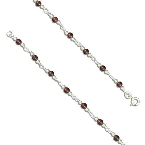 Anklet garnet round sterling silver ankle chain
