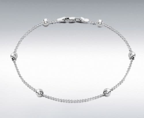Anklet Sterling Silver Ball And Chain Solid Ladies Ankle Chain