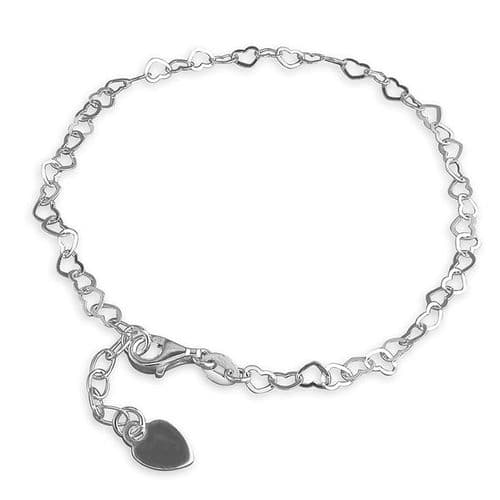 Anklet Sterling Silver Fancy Heart Shaped Link Solid Ladies Ankle Chain With Heart Charm On The End