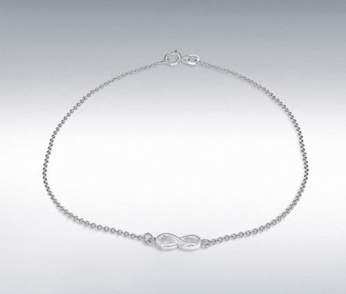 Anklet Sterling Silver Infinity Solid Ladies Ankle Chain