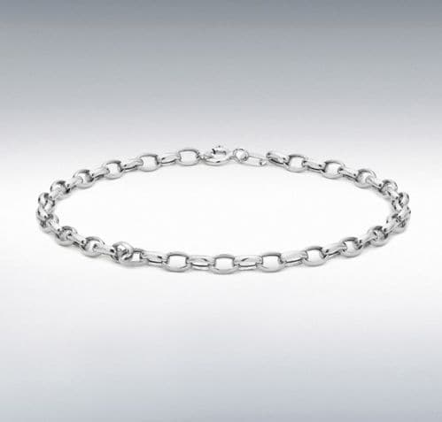 Anklet White Gold Ladies Oval Belcher Ankle Chain