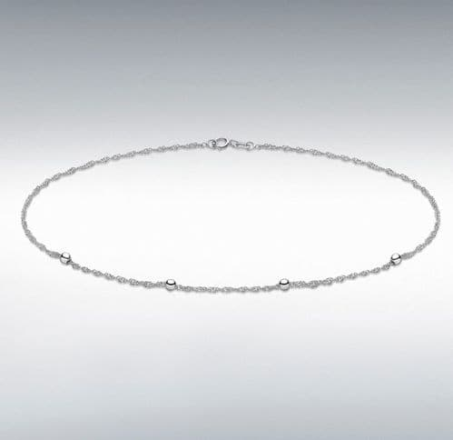Anklet White Gold Ladies Singapore Twisted Curb With Balls Ankle Chain