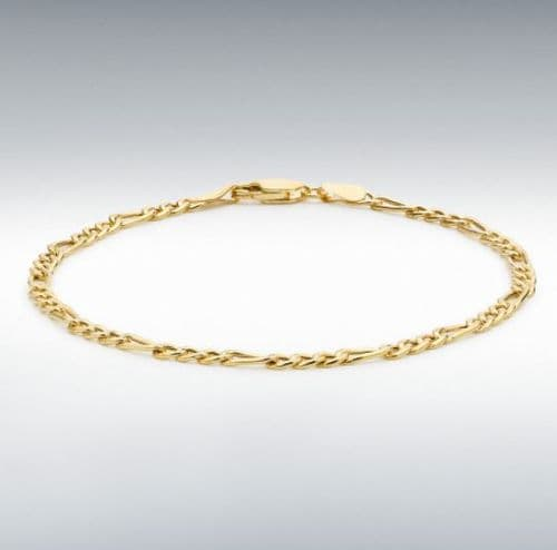 Anklet Yellow Gold Ladies 3 + 1 Figaro Ankle Chain