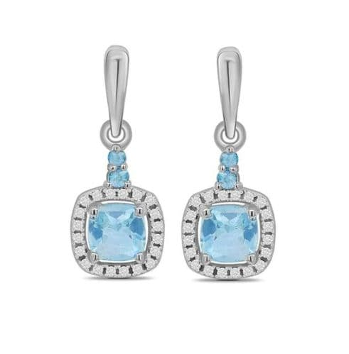 Aquamarine And Diamond White Gold Square Cluster Drop Earrings