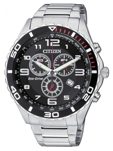 AT2121-50E Citizen Watch Chronograph Stainless Steel Black Dial Bracelet Eco-Drive