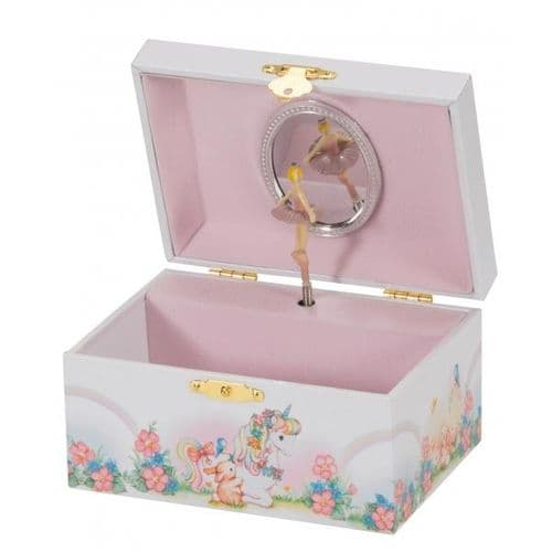 Ballerina Pink And White Unicorn Musical Jewellery Box