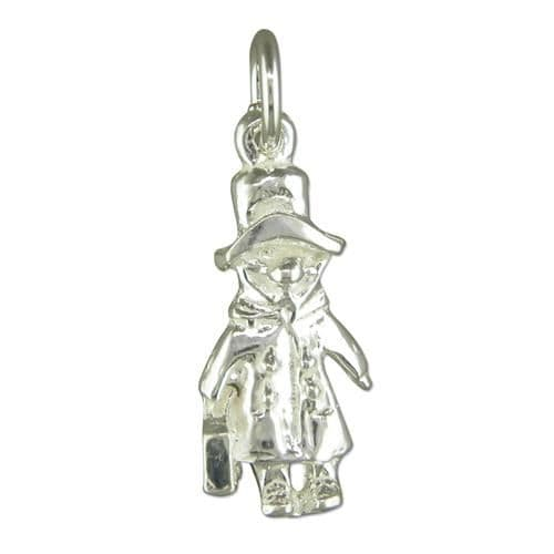 Bear With Suitcase Sterling Silver Charm