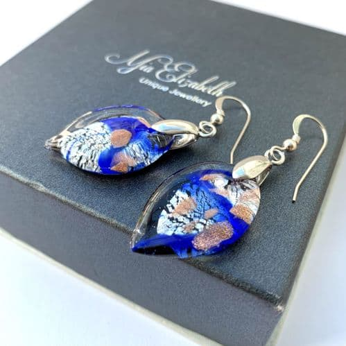 Beautiful Blue Murano Glass Leaf Earrings
