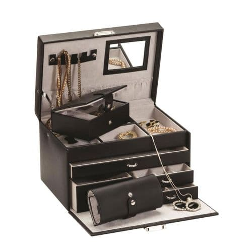 Black Jewellery Box With Jewellery Roll Leather Mele & Co